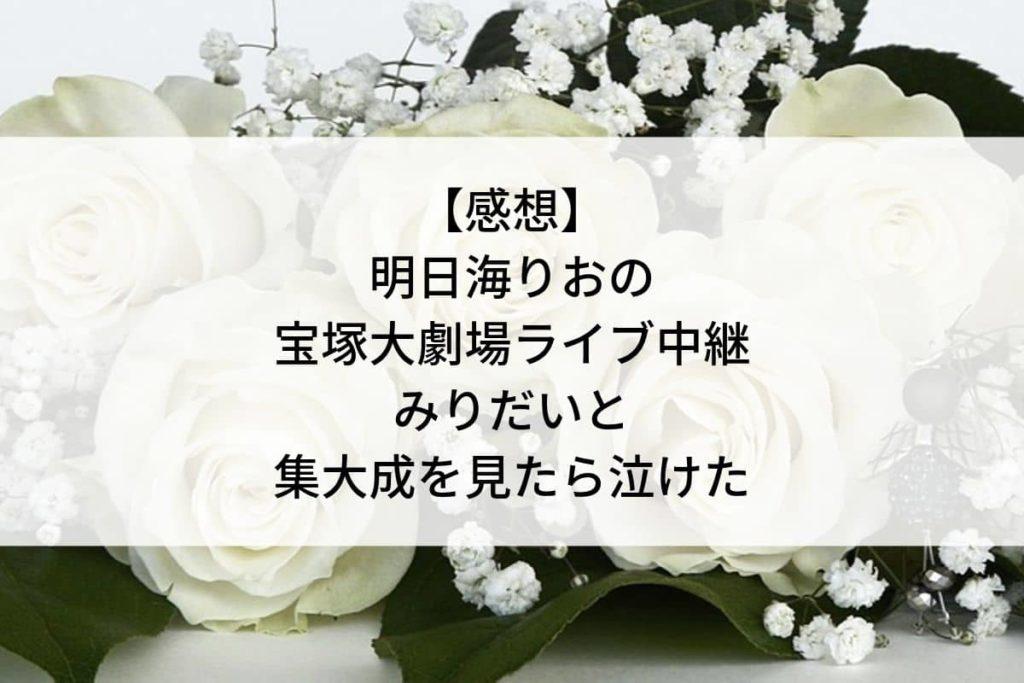 【感想】明日海りおの宝塚大劇場ライブビューイングとみりだいと集大成を見たら泣けたこと